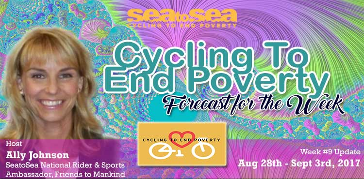 SeaToSea Cycling To End Poverty - Week #9 Forecast With Ally Johnson Blog Cover for Tenacious Living Inc